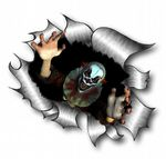Ripped Torn Metal Design With Evil Horror Style Clown Motif External Vinyl Car Sticker 105x130mm